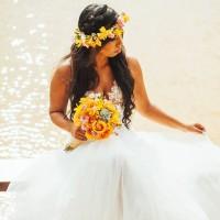 Coroa de cabelo e Buquê de noiva